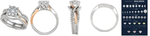 Macy's 3-Pc. Diamond Halo Openwork Bridal Set (1-1/7 ct. t.w.) in 14k White & Rose Gold