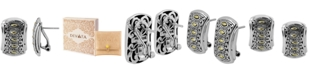 DEVATA Bali Heritage Classic Stud Clip Earrings Omega Clasp in Sterling Silver and 18k Yellow Gold Accents