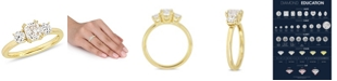 Macy's Certified Diamond (1 1/2 ct. t.w.) 3-Stone Engagement Ring in 14k Yellow Gold
