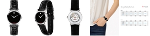 Movado Women's Swiss Automatic Red Label Black Leather Strap Watch 26mm
