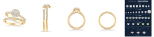 Macy's Diamond Halo Bridal Set (1 ct. t.w.) in 14k Yellow, White or Rose Gold