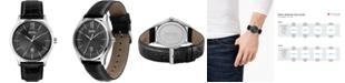 BOSS Men's Distinction Black Leather Strap Watch 42mm