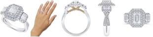 Macy's Diamond Three Stone Halo Engagement Ring (2 ct. t.w.) in 14k White & Yellow Gold