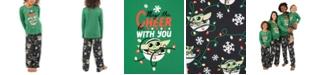 Munki Munki Matching Kids Holiday Baby Yoda Family Pajama Set