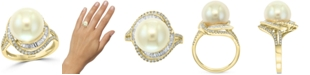 EFFY Collection EFFY® Cultured Freshwater Pearl (12mm) & Diamond (1/2 ct. t.w.) Ring in 14k Gold