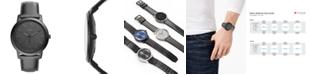 Fossil Men's Minimalist Black Leather Strap Watch 44mm