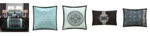 Nanshing Arabesque 8-Piece Comforter Set, Black/Blue, King