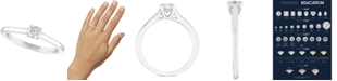 Macy's Certified Diamond Solitaire Engagement Ring (1/4 ct. t.w.) in 14k White Gold