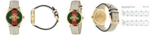 Gucci Women's Swiss G-Timeless White Leather Strap Watch 38mm