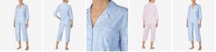Lauren Ralph Lauren 3/4 Sleeve Classic Notch Collar Capri Pajama Set