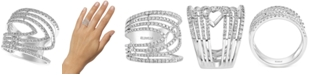 EFFY Collection EFFY® Diamond Chevron Multi-Row Statement Ring (7/8 ct. t.w.) in 14k White Gold