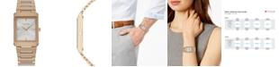 Citizen Eco-Drive Unisex Stiletto Rose Gold-Tone Stainless Steel Bracelet Watch 25x35mm