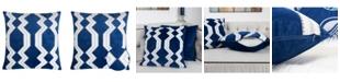 Homey Cozy Vivian Applique Velvet Square Decorative Throw Pillow