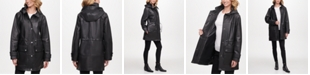 DKNY Hooded Leather Anorak Jacket