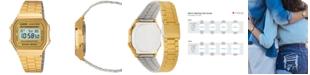 Casio Men's Digital Vintage Gold-Tone Stainless Steel Bracelet Watch 39x39mm A168WG-9MV