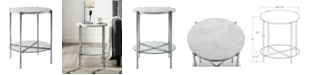 Walker Edison 20 inch Round Side Table in Faux Marble with Glass Shelf and Chrome Legs