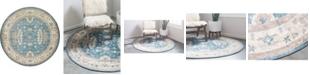 Bridgeport Home Bellmere Bel5 Light Blue 8' x 8' Round Area Rug