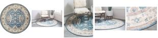 Bridgeport Home Bellmere Bel5 Light Blue 4' x 4' Round Area Rug