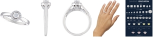 Macy's Certified Diamond Halo Engagement Ring (1/2 ct. t.w.) in 14k White Gold