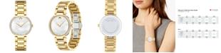Movado Women's Swiss Modern Classic Diamond (1/4 ct. t.w.) Gold PVD Stainless Steel Bracelet Watch 28mm