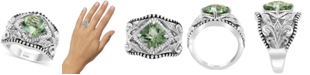 EFFY Collection EFFY® Green Quartz (3 ct. t.w.) & White Sapphire (1/20 ct. t.w.) Statement Ring in Sterling Silver