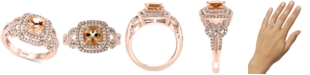 EFFY Collection EFFY® Morganite (1-3/8 ct. t.w.) & Diamond (3/8 ct. t.w.) Ring in 14k Rose Gold