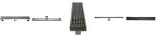 """ALFI brand 24"""" Modern Stainless Steel Linear Shower Drain with Groove Lines"""