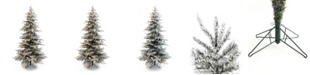 Perfect Holiday 9' Pre-Lit Slim Flocked Christmas Tree with Clear LED Lights