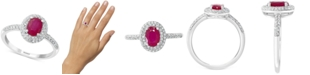 EFFY Collection EFFY® Ruby (7/8 ct. t.w.) & Diamond (1/3 ct. t.w.) Statement Ring in 14k White Gold