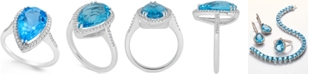 Macy's Blue and White Topaz Halo Ring (5 ct. t.w.) in Sterling Silver