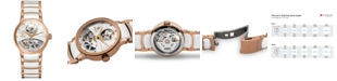 Rado Women's Swiss Automatic Centrix Diamond Accent Rose Gold-Tone PVD Stainless Steel and White Ceramic Bracelet Watch 33mm R30248902