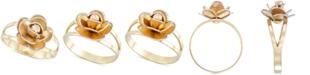 Italian Gold Tri-Colour Flower Split Shank Ring in 14k Gold, White Gold & Rose Gold