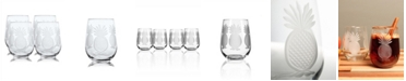 Rolf Glass Pineapple Stemless 17Oz - Set Of 4 Glasses