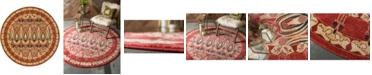 Bridgeport Home Orwyn Orw3 Red/Beige 8' x 8' Round Area Rug