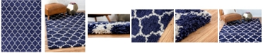 Bridgeport Home Fazil Shag Faz4 Navy Blue 9' x 12' Area Rug
