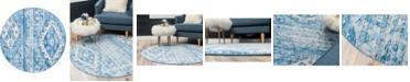 "Bridgeport Home Nira Nir2 Blue 3' 3"" x 3' 3"" Round Area Rug"