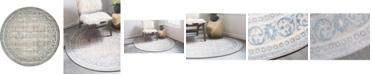 Bridgeport Home Bellmere Bel4 Gray 5' x 5' Round Area Rug