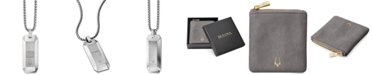 """Bulova Men's Diamond Dog Tag Pendant Necklace (1/10 ct. t.w.) in Stainless Steel, 26"""" + 2"""" Extender"""