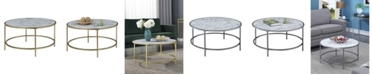 Convenience Concepts Gold Coast Faux Marble Round Coffee Table