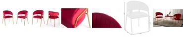 Bold Tones Silk Velvet Modern Gold-Tone Metal Chair, Set of 2