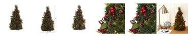 Nearly Natural Mixed Berry and Pine Cone Artificial Christmas Tree with 35 Clear LED Lights