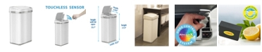 Halo 4 Gallon White Steel Touchless Trash Can with Deodorizer & Fragrance
