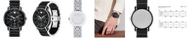 Movado Men's Swiss Chronograph Strato Silver-Tone & Black PVD Stainless Steel Bracelet Watch 44mm 0607006