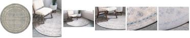 """Bridgeport Home Bellmere Bel1 Gray 7' 3"""" x 7' 3"""" Round Area Rug"""