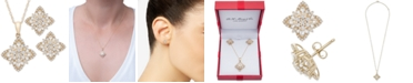 """Wrapped in Love 2-Pc. Set Diamond Flower Cluster 20"""" Pendant Necklace and Matching Stud Earrings (1 ct. t.w.) in 14k Gold, Created for Macy's"""