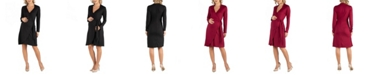 24seven Comfort Apparel Knee Length Long Sleeve Maternity Wrap Dress