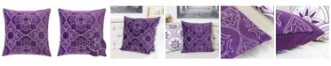 Homey Cozy Aubrey Quatrefoil Floral Square Decorative Throw Pillow