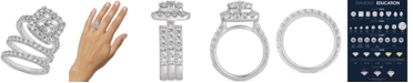 Macy's Certified Diamond Halo 3-Pc. Bridal Set (4 ct. t.w.) in 14k White Gold