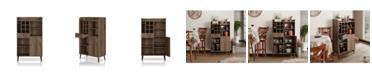 Furniture of America Alzon Distressed Walnut Wine Cabinet