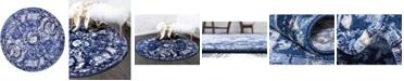 Bridgeport Home Aldrose Ald3 Blue 6' x 6' Round Area Rug